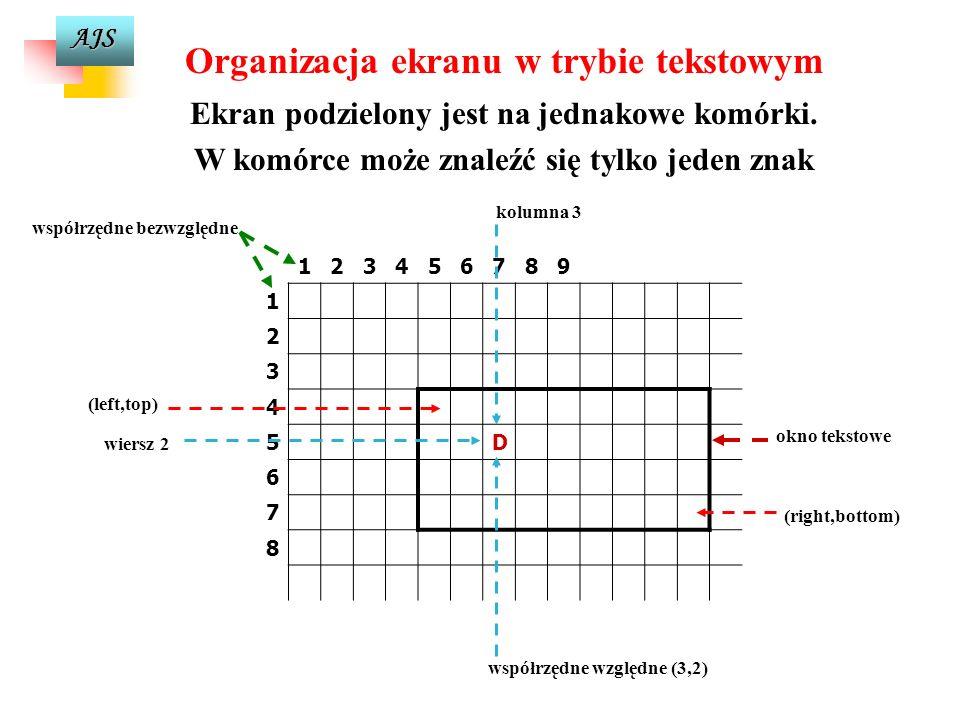 Organizacja ekranu w trybie tekstowym