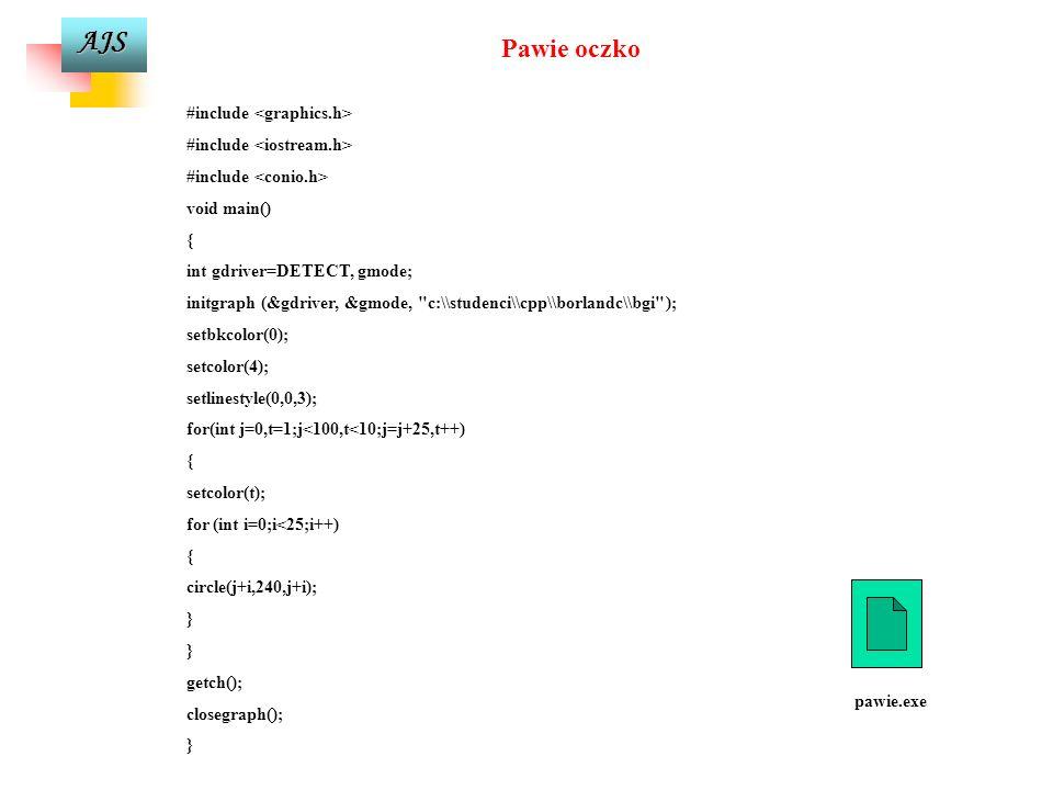 Pawie oczko #include <graphics.h> #include <iostream.h>