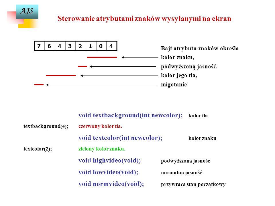 Sterowanie atrybutami znaków wysyłanymi na ekran