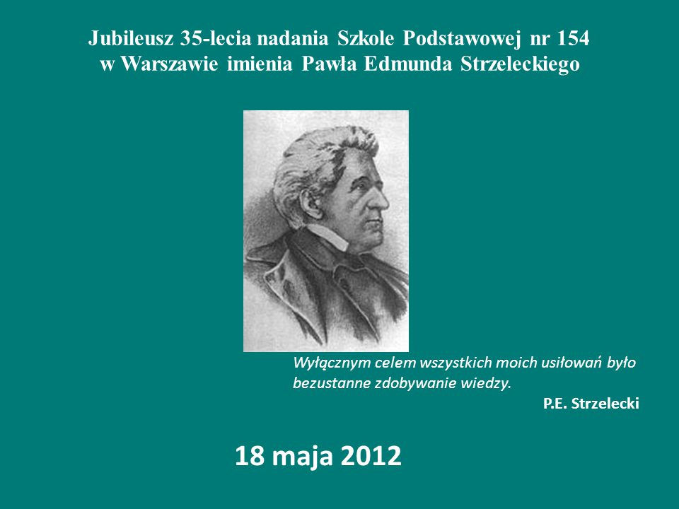 Jubileusz 35-lecia nadania Szkole Podstawowej nr 154 w Warszawie imienia Pawła Edmunda Strzeleckiego