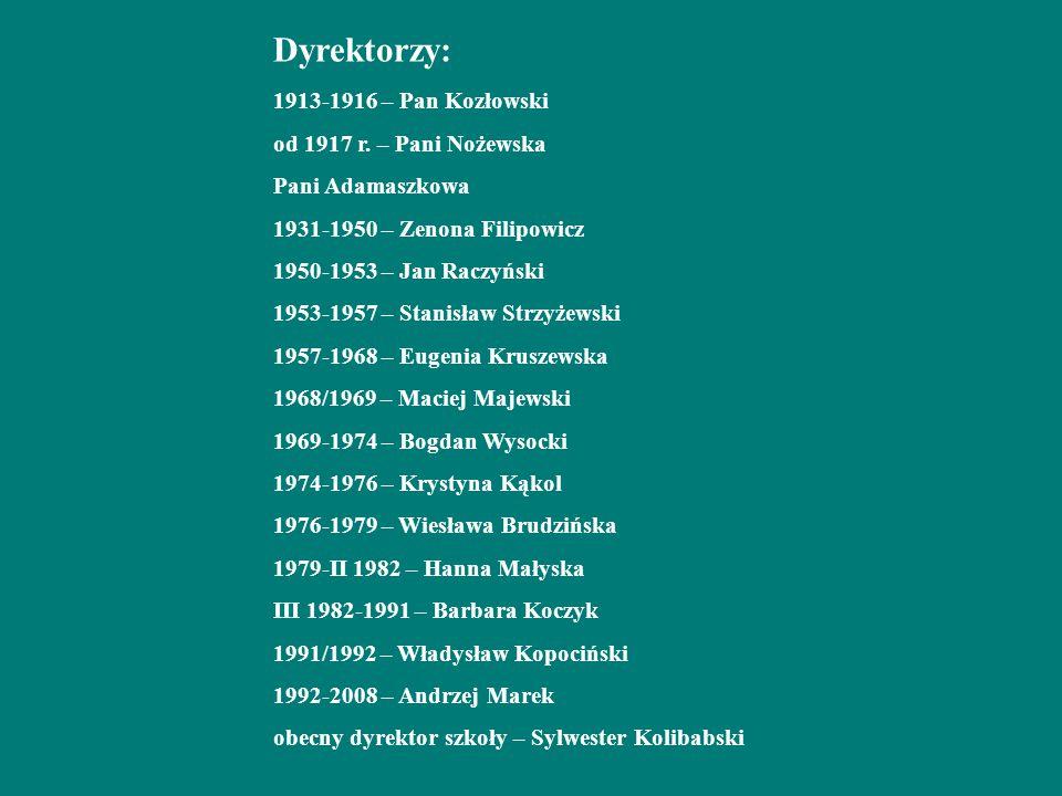 Dyrektorzy: 1913-1916 – Pan Kozłowski od 1917 r
