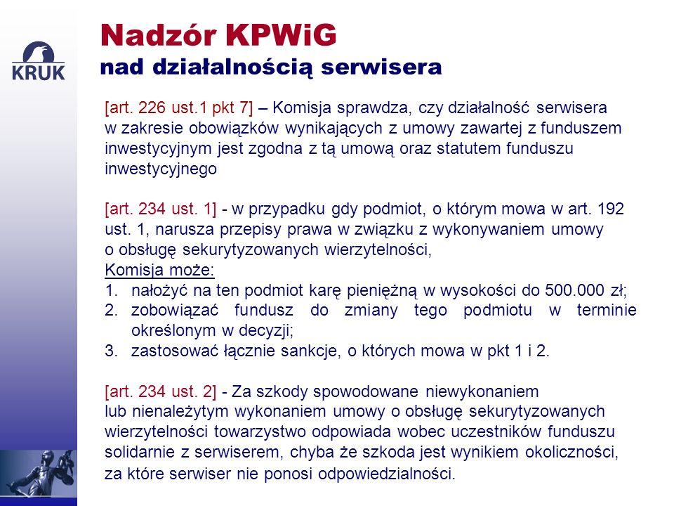 Nadzór KPWiG nad działalnością serwisera