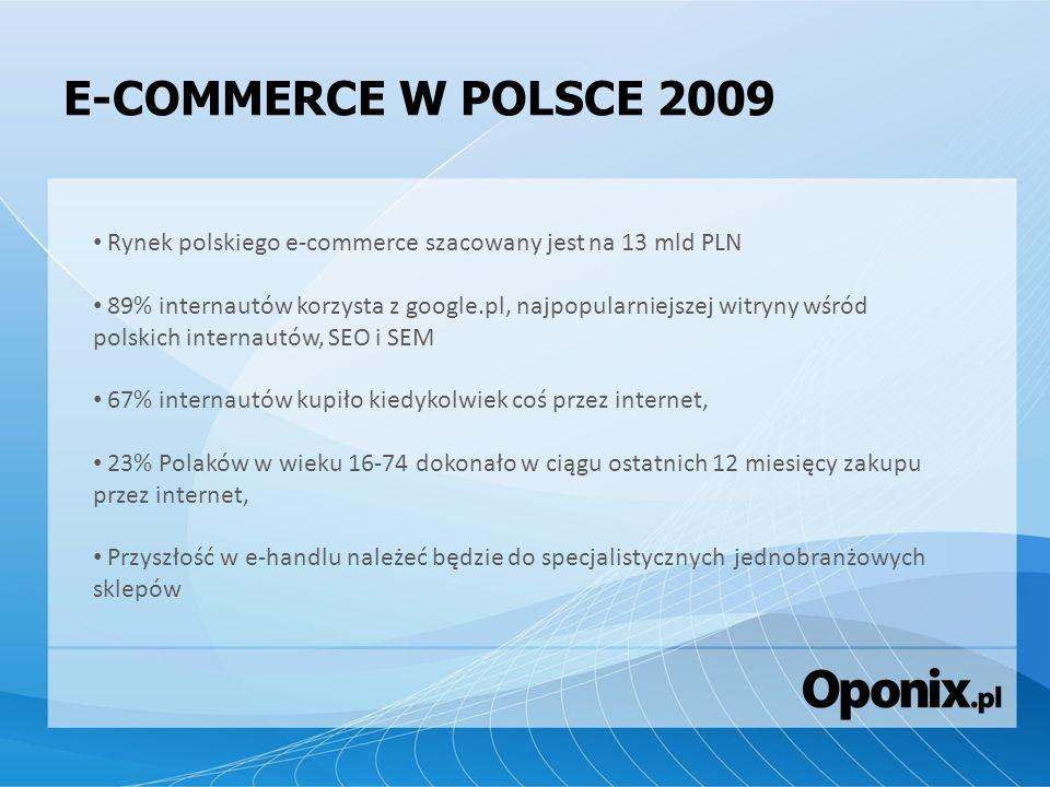 E-COMMERCE W POLSCE 2009Rynek polskiego e-commerce szacowany jest na 13 mld PLN.
