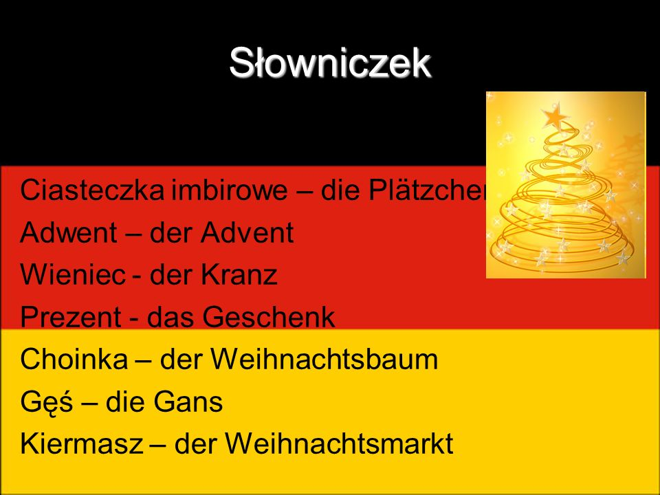 Słowniczek Ciasteczka imbirowe – die Plätzchen Adwent – der Advent