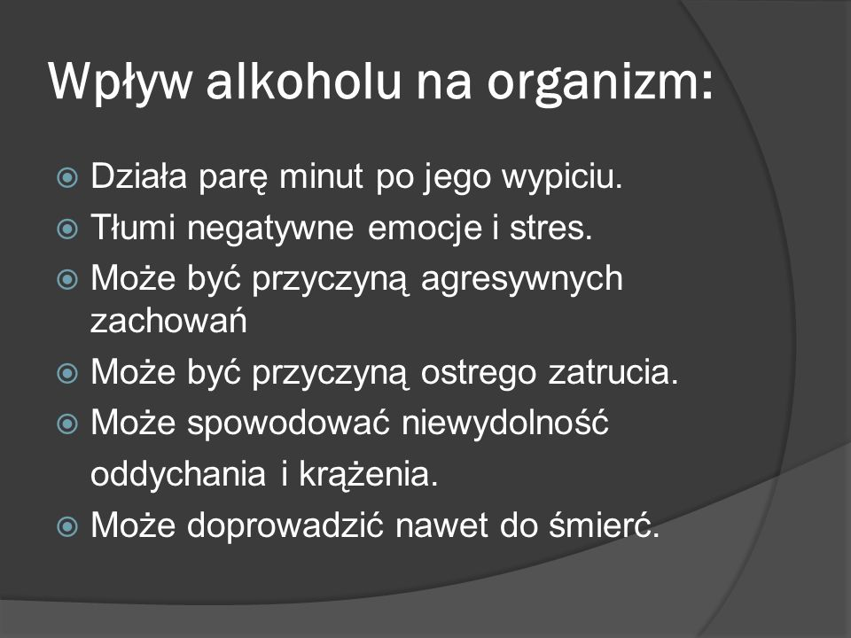 Wpływ alkoholu na organizm: