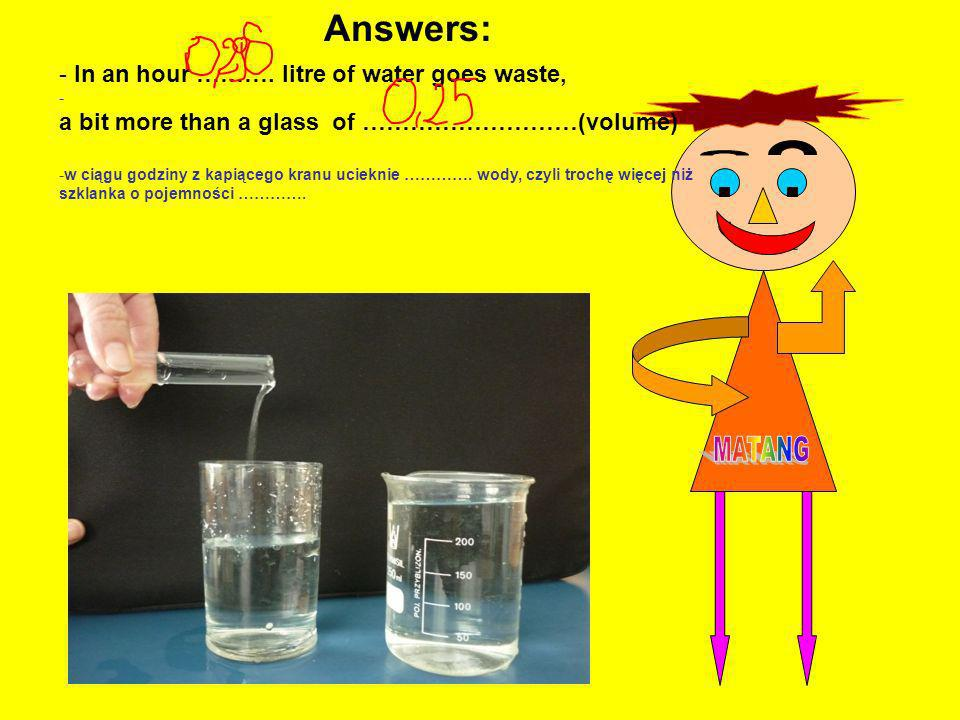 Answers: , In an hour ………. litre of water goes waste,