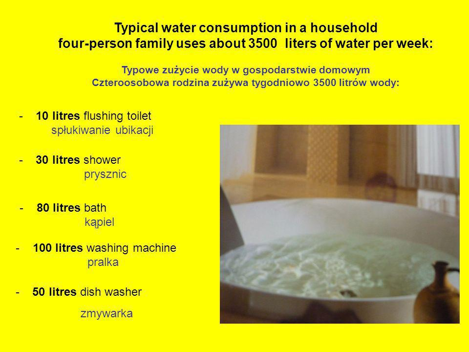 Typical water consumption in a household