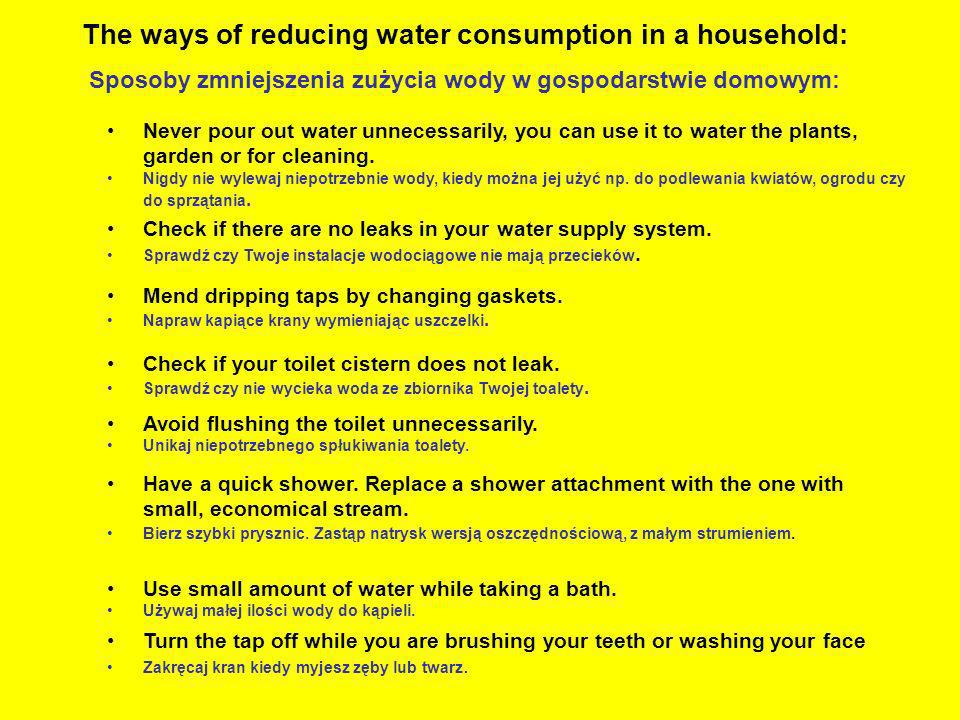 The ways of reducing water consumption in a household: