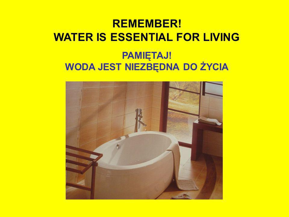 WATER IS ESSENTIAL FOR LIVING WODA JEST NIEZBĘDNA DO ŻYCIA