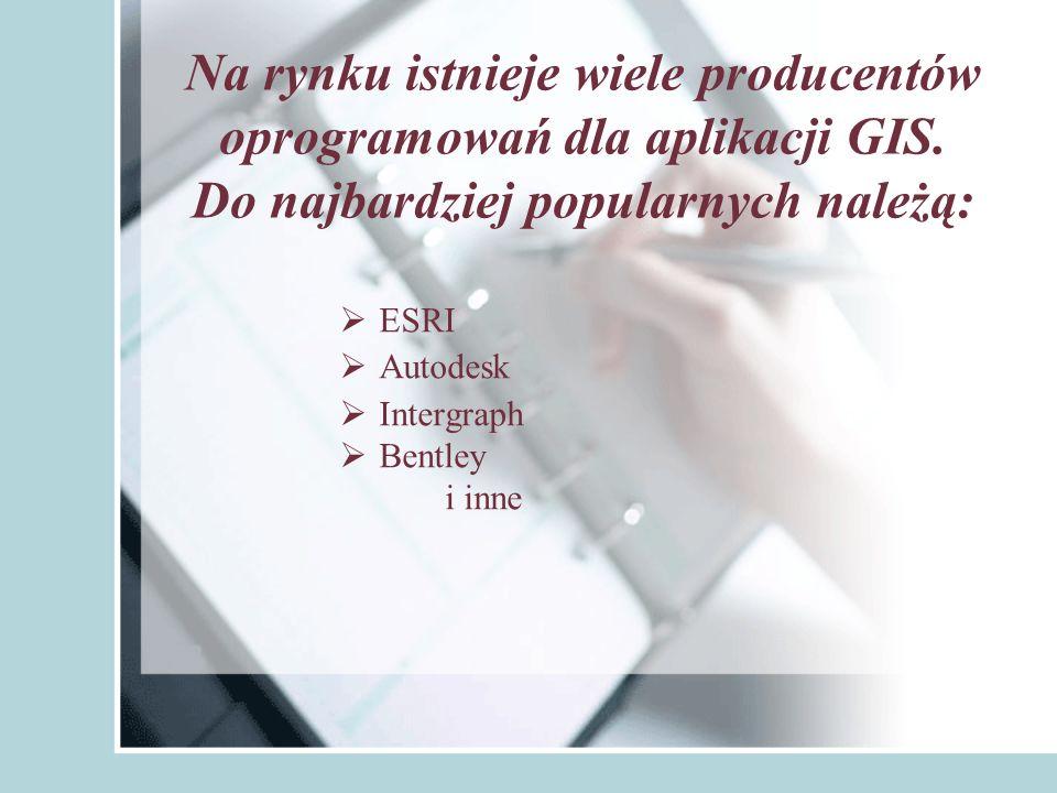 Na rynku istnieje wiele producentów oprogramowań dla aplikacji GIS