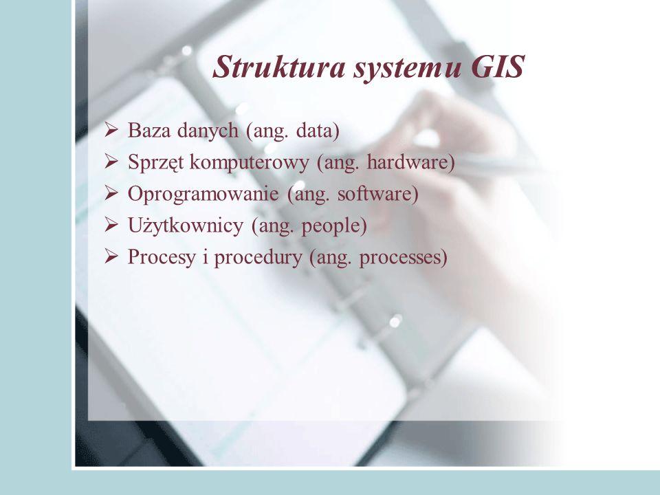 Struktura systemu GIS Baza danych (ang. data)