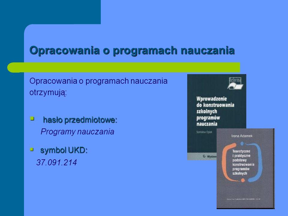Opracowania o programach nauczania