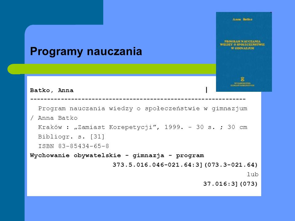 Programy nauczania Batko, Anna |