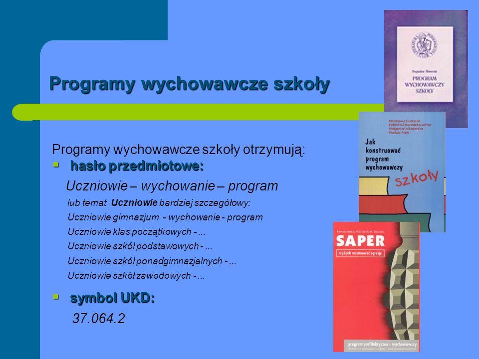 Programy wychowawcze szkoły