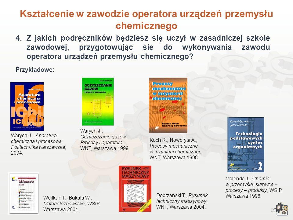 Kształcenie w zawodzie operatora urządzeń przemysłu chemicznego