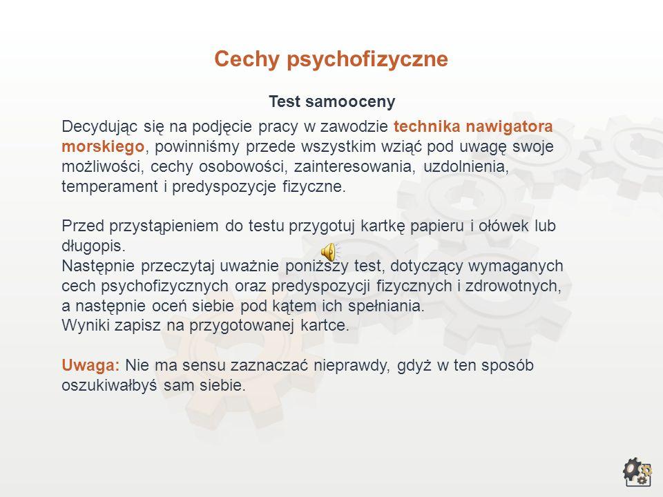 Cechy psychofizyczne Test samooceny