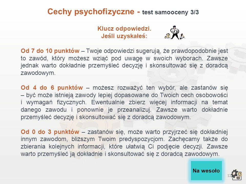 Cechy psychofizyczne - test samooceny 3/3
