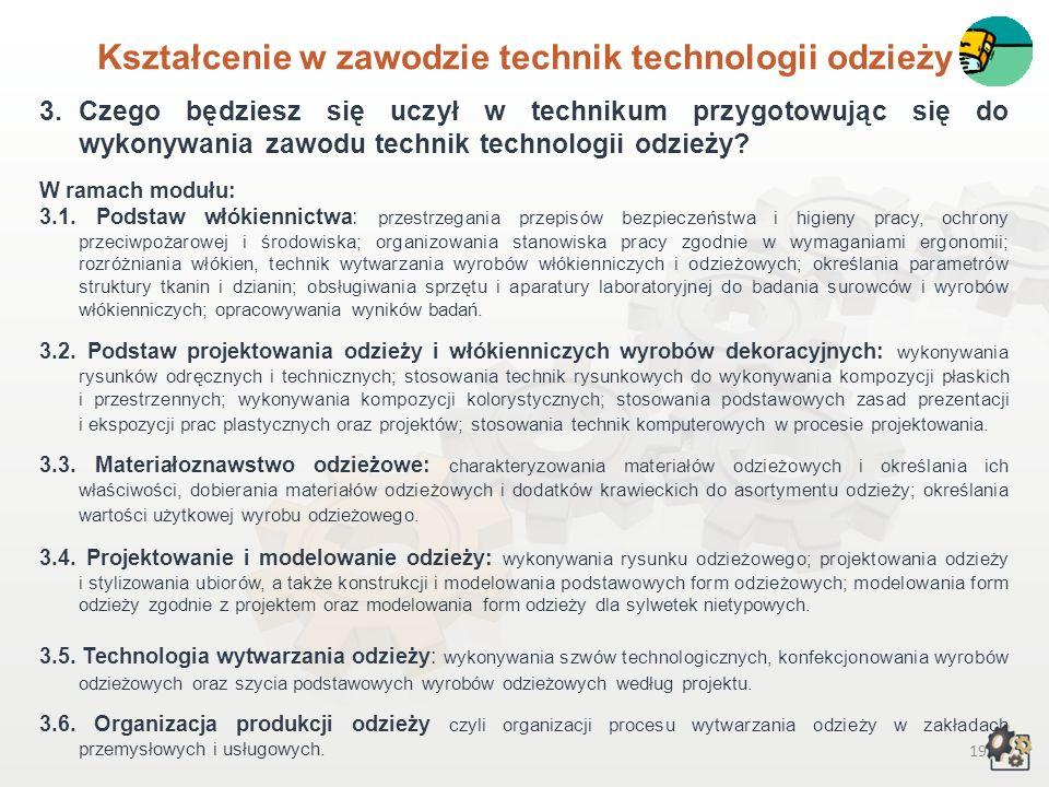Kształcenie w zawodzie technik technologii odzieży