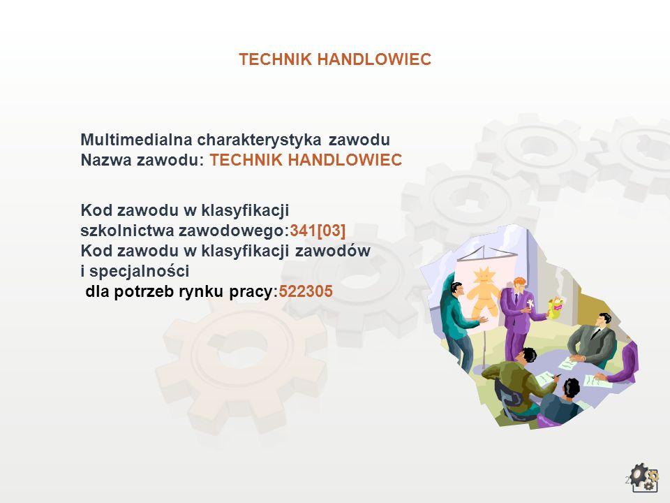 TECHNIK HANDLOWIEC Multimedialna charakterystyka zawodu. Nazwa zawodu: TECHNIK HANDLOWIEC. Kod zawodu w klasyfikacji.