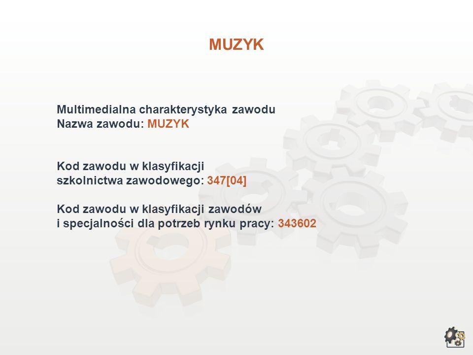 MUZYK Multimedialna charakterystyka zawodu Nazwa zawodu: MUZYK