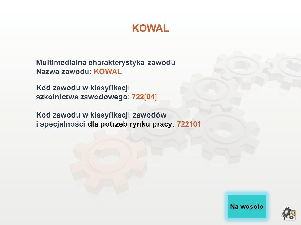 KOWAL Multimedialna charakterystyka zawodu Nazwa zawodu: KOWAL
