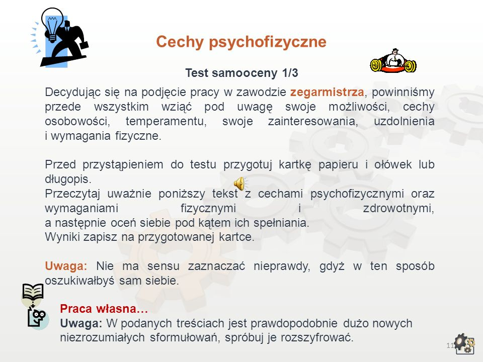 Cechy psychofizyczne Test samooceny 1/3