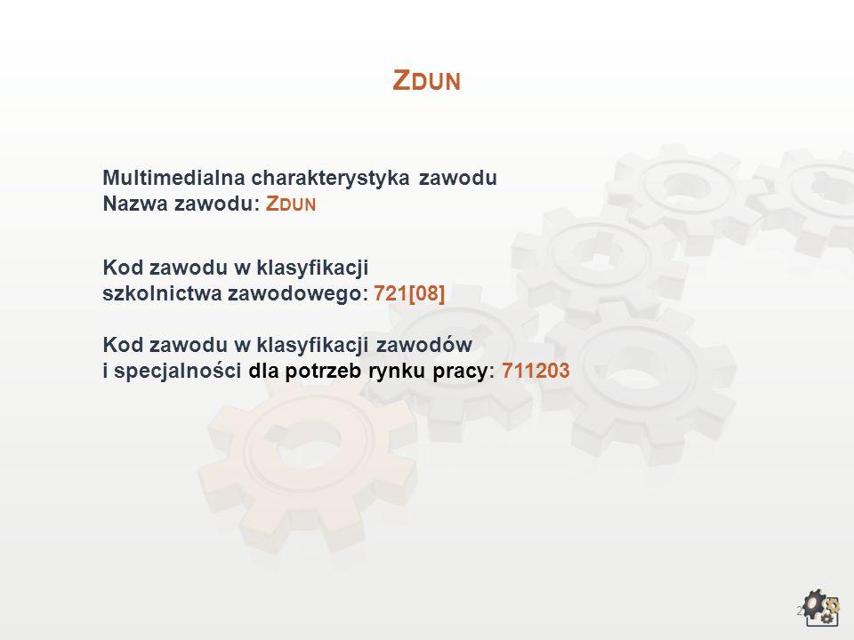 Zdun Multimedialna charakterystyka zawodu Nazwa zawodu: Zdun