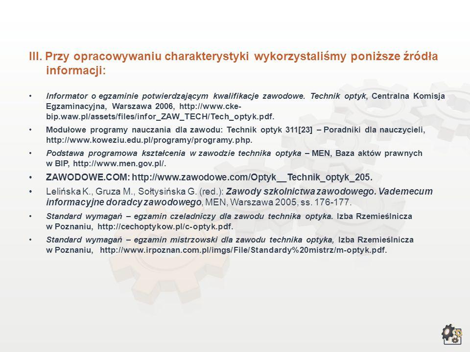 III. Przy opracowywaniu charakterystyki wykorzystaliśmy poniższe źródła informacji: