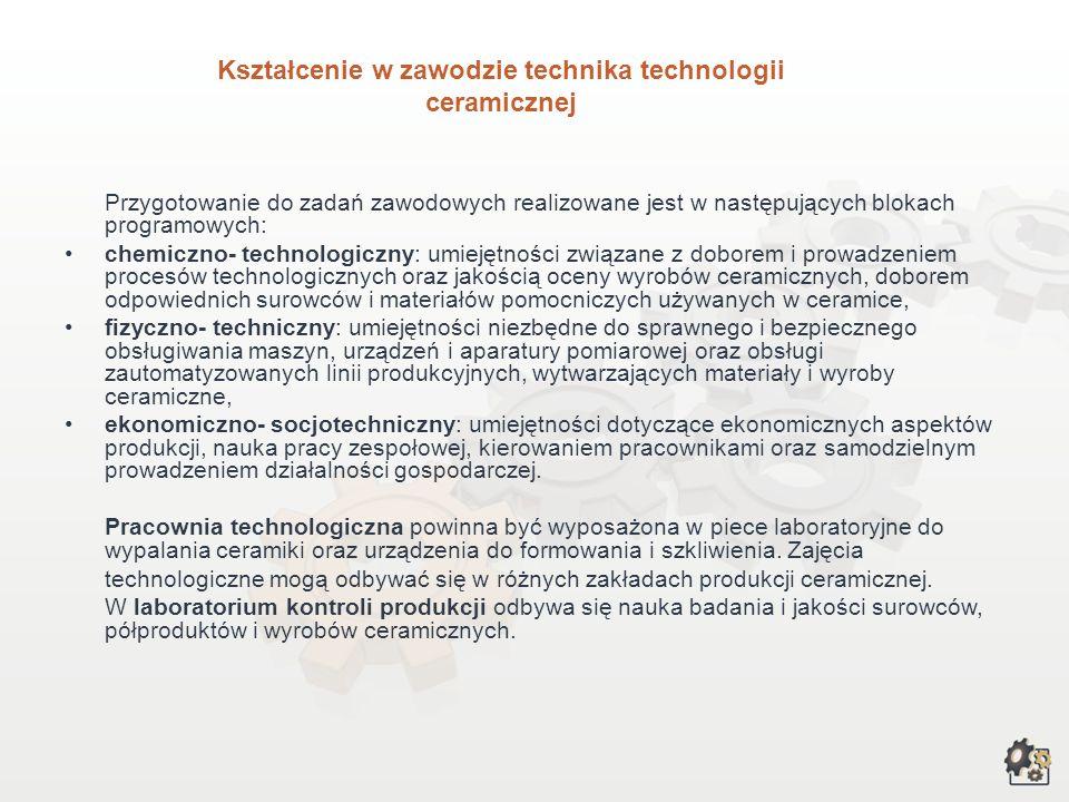 Kształcenie w zawodzie technika technologii ceramicznej