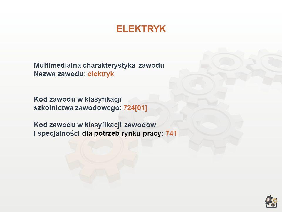 ELEKTRYK Multimedialna charakterystyka zawodu Nazwa zawodu: elektryk