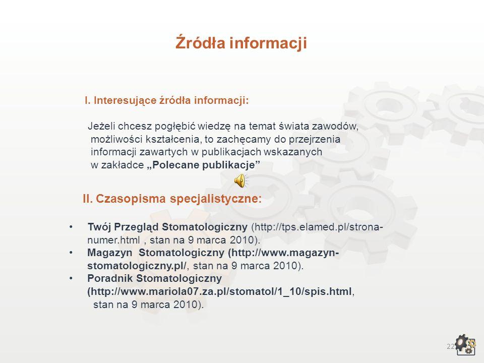 Źródła informacji II. Czasopisma specjalistyczne: