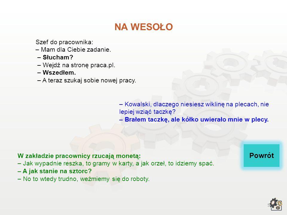NA WESOŁO Szef do pracownika: – Mam dla Ciebie zadanie. – Słucham – Wejdź na stronę praca.pl. – Wszedłem. – A teraz szukaj sobie nowej pracy.