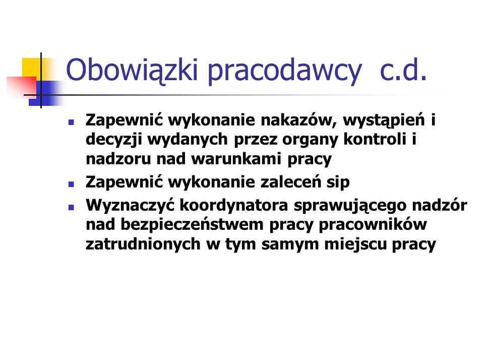 Obowiązki pracodawcy c.d.