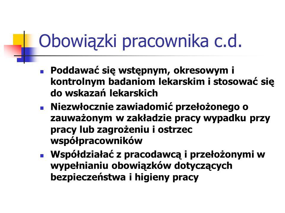 Obowiązki pracownika c.d.