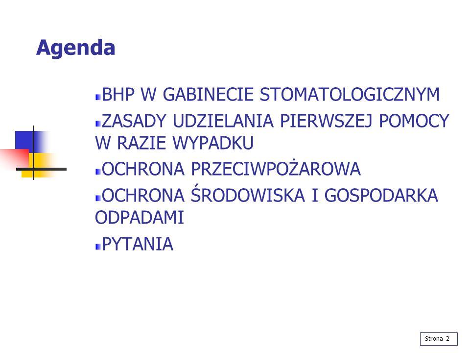 Agenda BHP W GABINECIE STOMATOLOGICZNYM