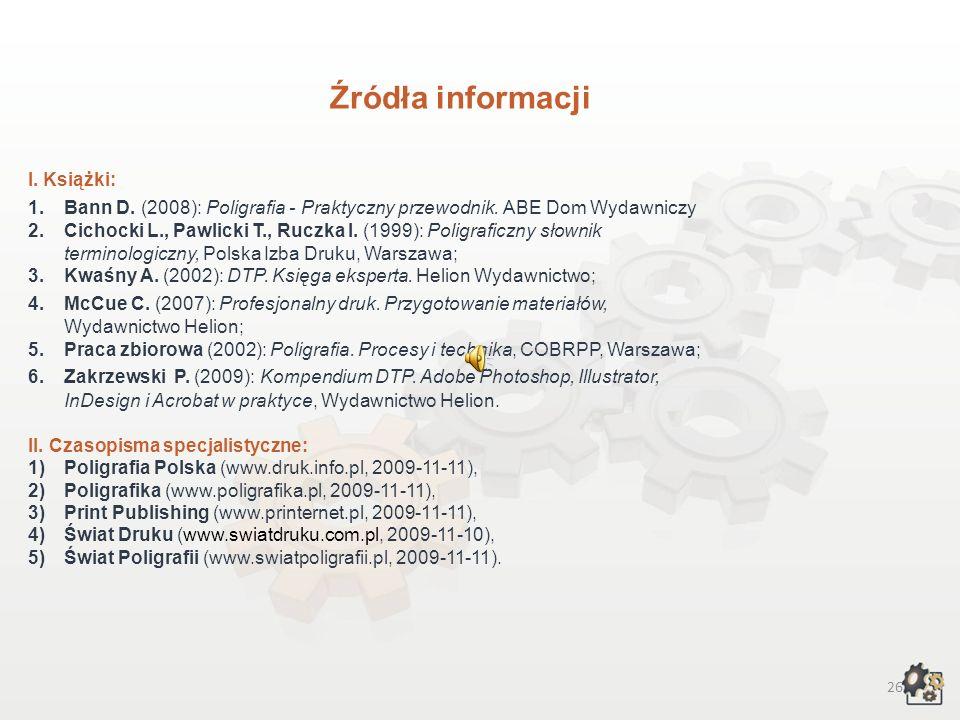 Źródła informacji I. Książki: