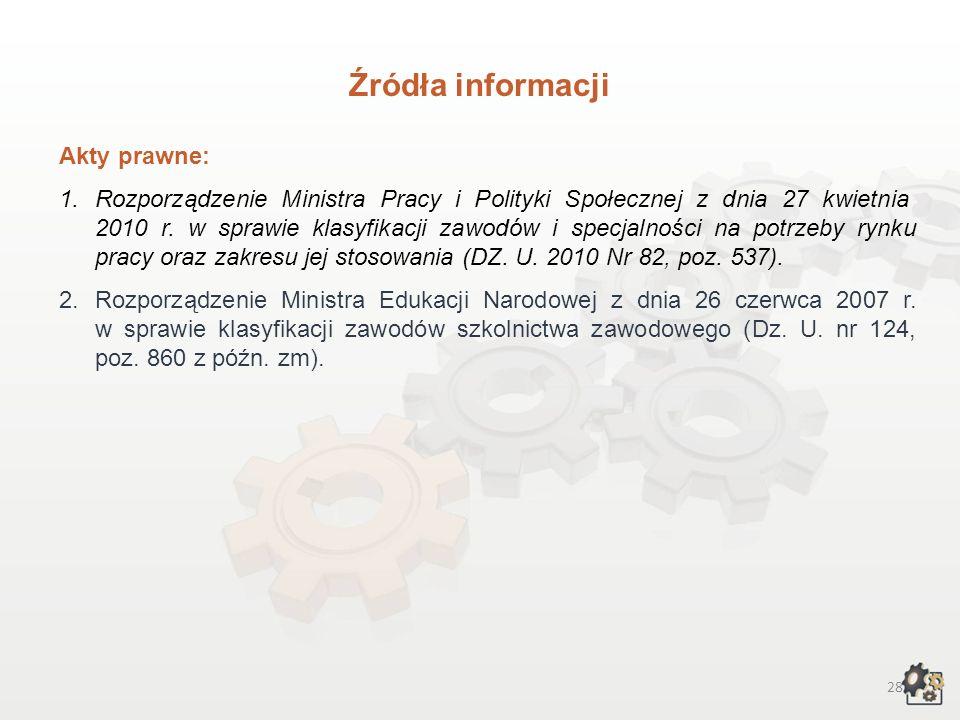 Źródła informacji Akty prawne: