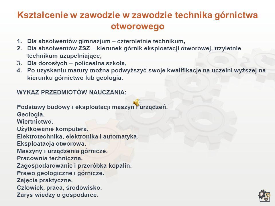 Kształcenie w zawodzie w zawodzie technika górnictwa otworowego