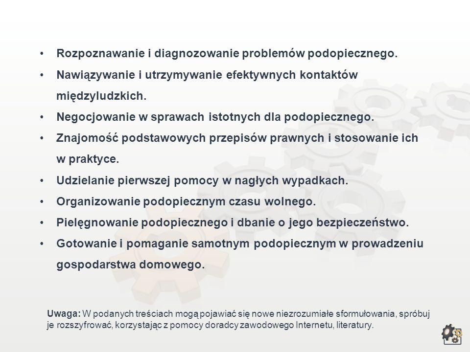 Rozpoznawanie i diagnozowanie problemów podopiecznego.