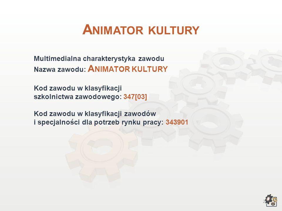 Animator kultury Multimedialna charakterystyka zawodu