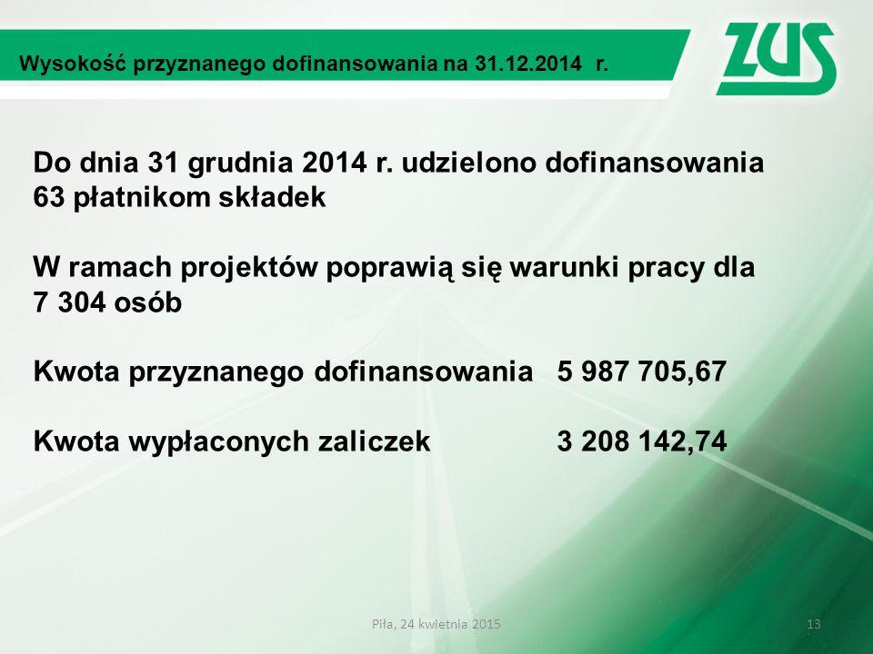 Do dnia 31 grudnia 2014 r. udzielono dofinansowania