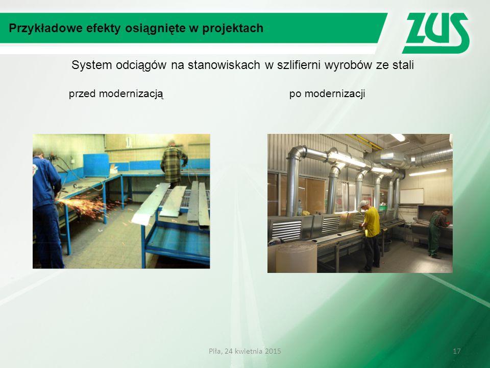 System odciągów na stanowiskach w szlifierni wyrobów ze stali