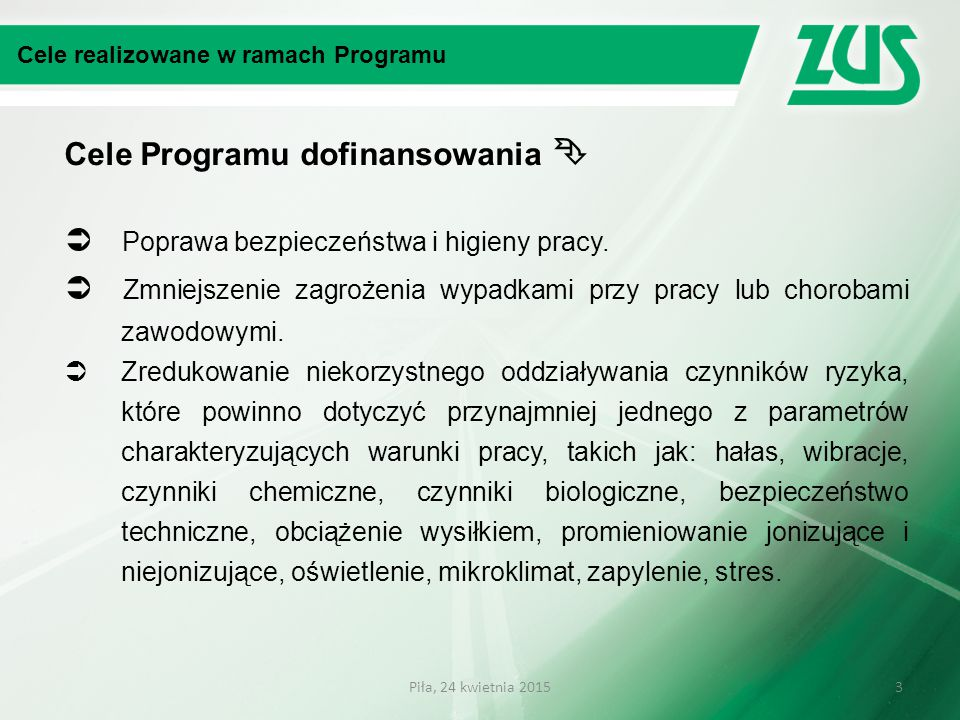 Cele Programu dofinansowania 