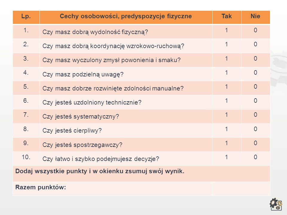 Cechy osobowości, predyspozycje fizyczne