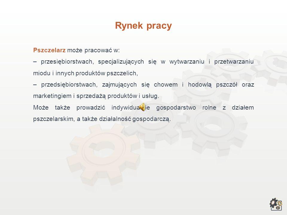 Rynek pracy Pszczelarz może pracować w: