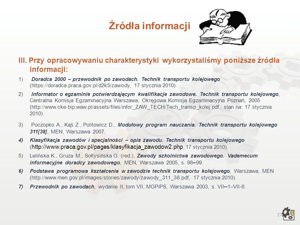 Źródła informacjiIII. Przy opracowywaniu charakterystyki wykorzystaliśmy poniższe źródła informacji: