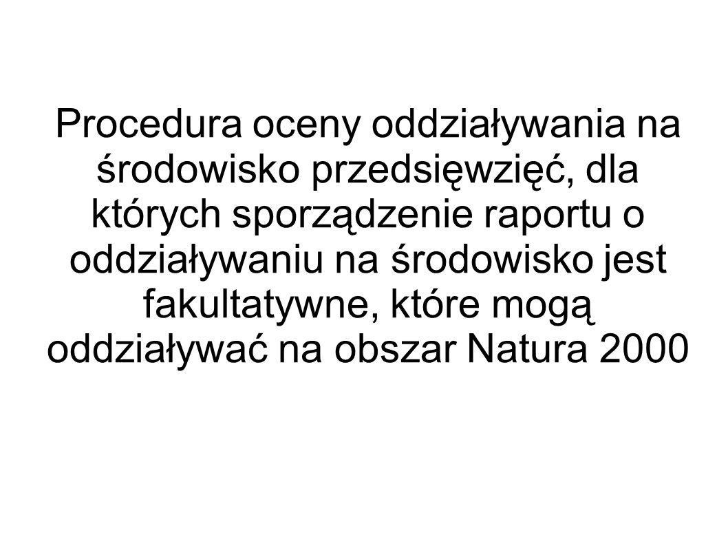 Procedura oceny oddziaływania na środowisko przedsięwzięć, dla których sporządzenie raportu o oddziaływaniu na środowisko jest fakultatywne, które mogą oddziaływać na obszar Natura 2000