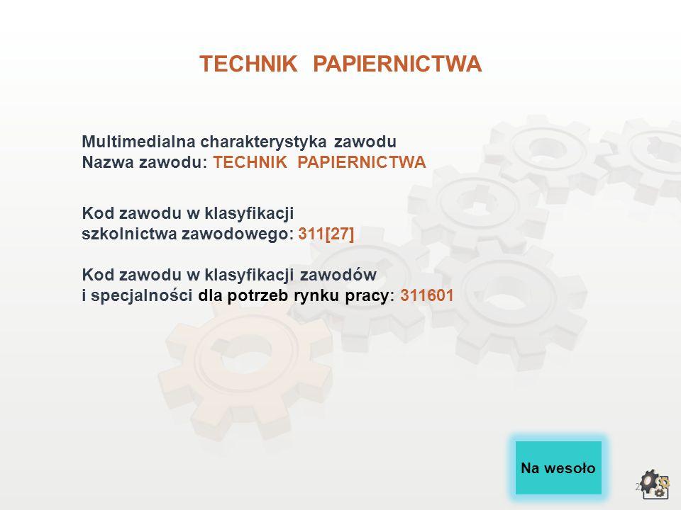 TECHNIK PAPIERNICTWA Multimedialna charakterystyka zawodu