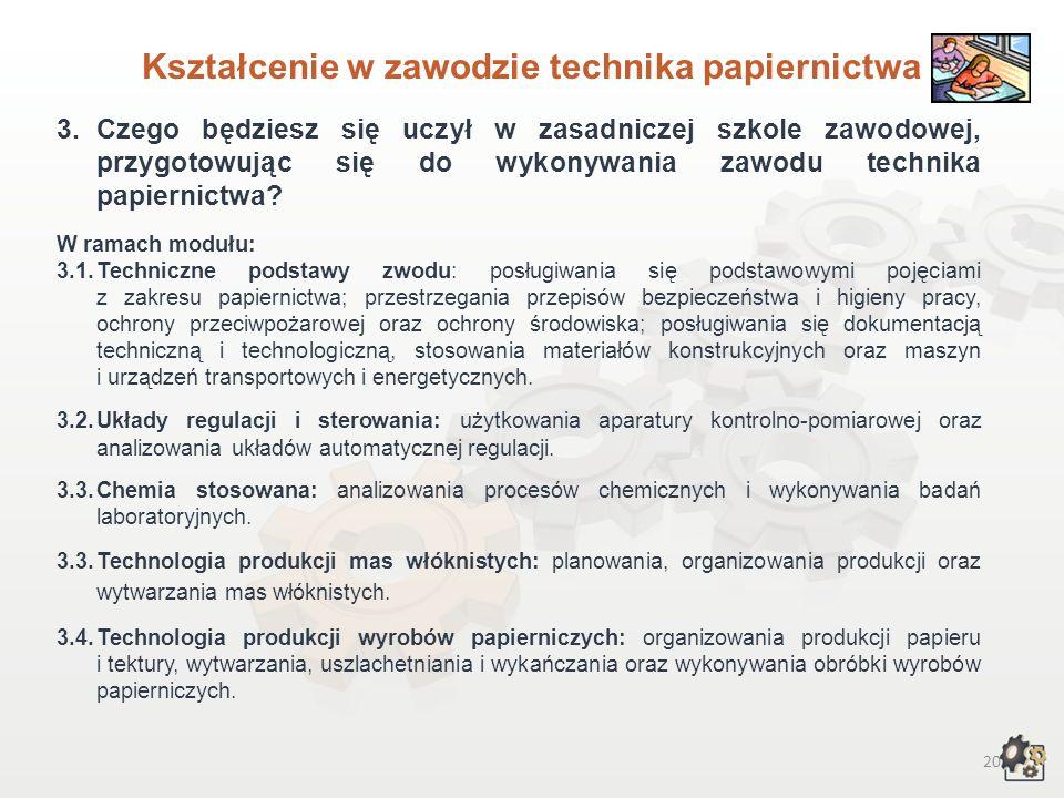 Kształcenie w zawodzie technika papiernictwa