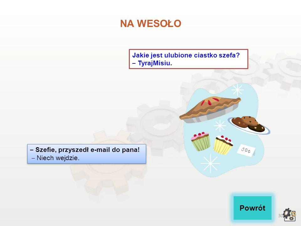 NA WESOŁO Powrót Jakie jest ulubione ciastko szefa – TyrajMisiu.